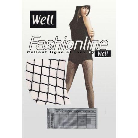 Well - Collant Résille Fashionline - Gris acier - T3/4