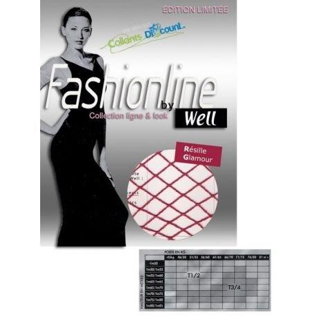 Well - Collant Fashionline Résille - Rouge passion - T1/2