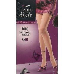 Claude St Gent - Duo Collants voile Lycra - Gris - T4